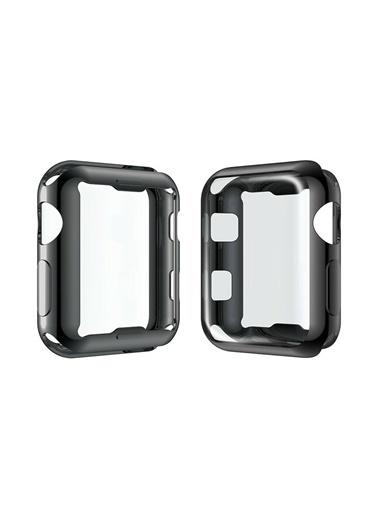 Techmaster Apple Watch 44 mm Silikon Kapak Kılıf Ekran Koruyucu Siyah